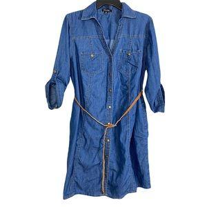 New Look Denim 3/4 sleeve roll tab sleeve dress 1X